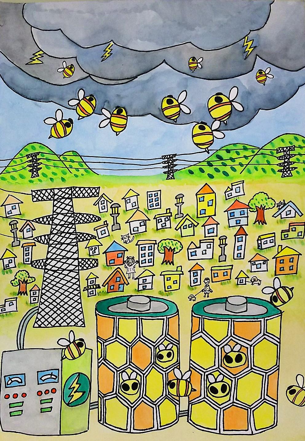 【作品写真:落雷を防ぐミツバチロボット】