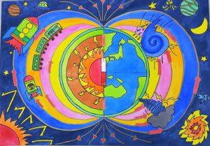 【写真:地磁気力発電/第41回未来の科学の夢絵画展(全国展)奨励賞】